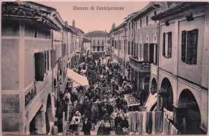 Cartolina-Vintage-PostCard-Mercato-di-Castelponzone-Viaggiata